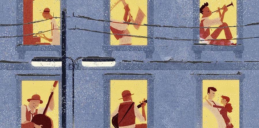 musici in het raam