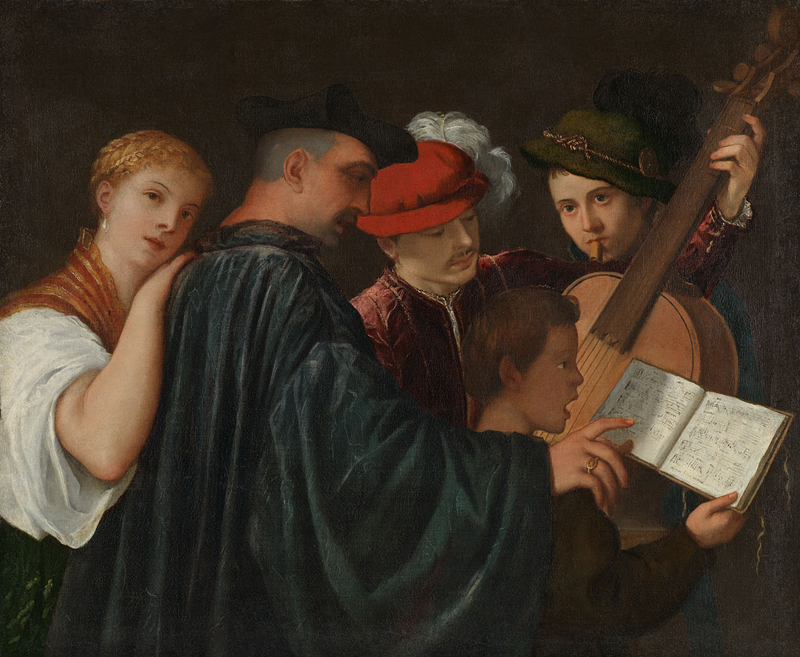 Possibly by Titian, active about 1506; died 1576 The Music Lesson about 1535 Oil on canvas, 99 x 120 cm Bought, 1824 NG3 http://www.nationalgallery.org.uk/paintings/NG3
