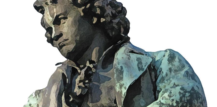 Beethoven beeld met photoshop filter