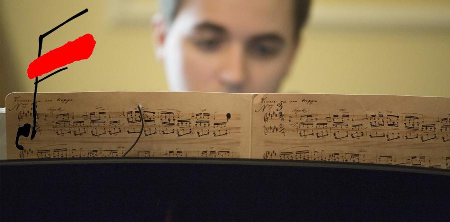 pianist achter bladmuziek