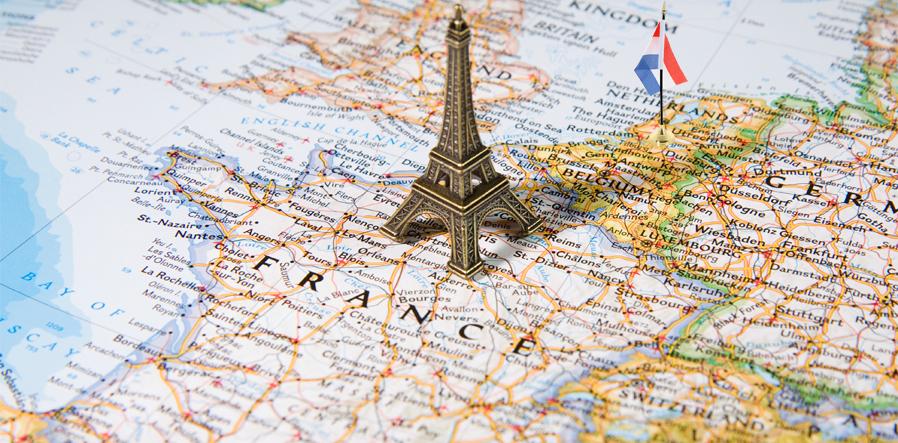 landkaart frankrijk eifeltoren