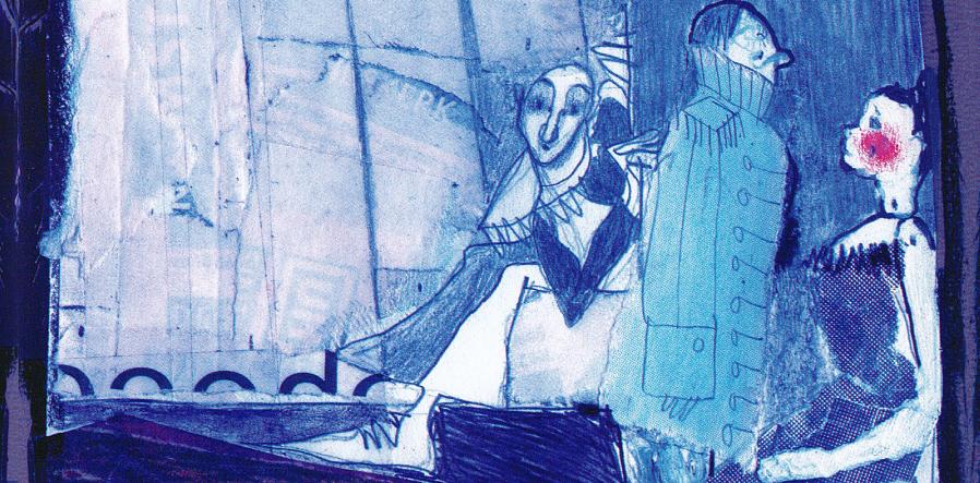 Illustratie harlekijn, soldaat, pop